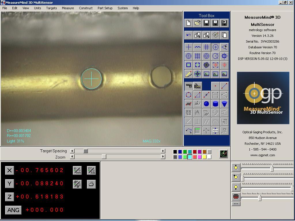 Optical CMM Measuring Laser Drilled Polyimide Tubing